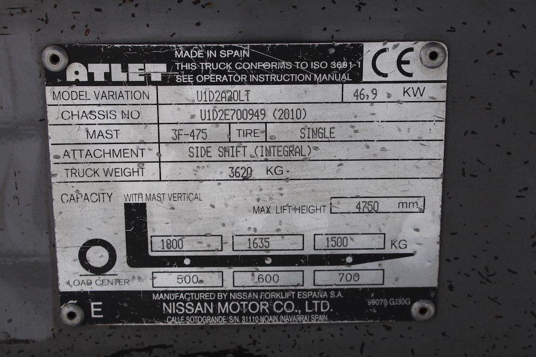 Atlet ( Nissan) U1D2A20LT gázos használt targonca PG204703-13