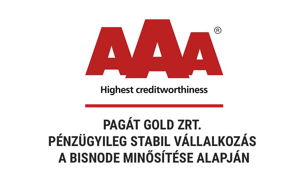 A Pagát Gold Zrt. a Bisnode AAA tanúsítványát kapta meg
