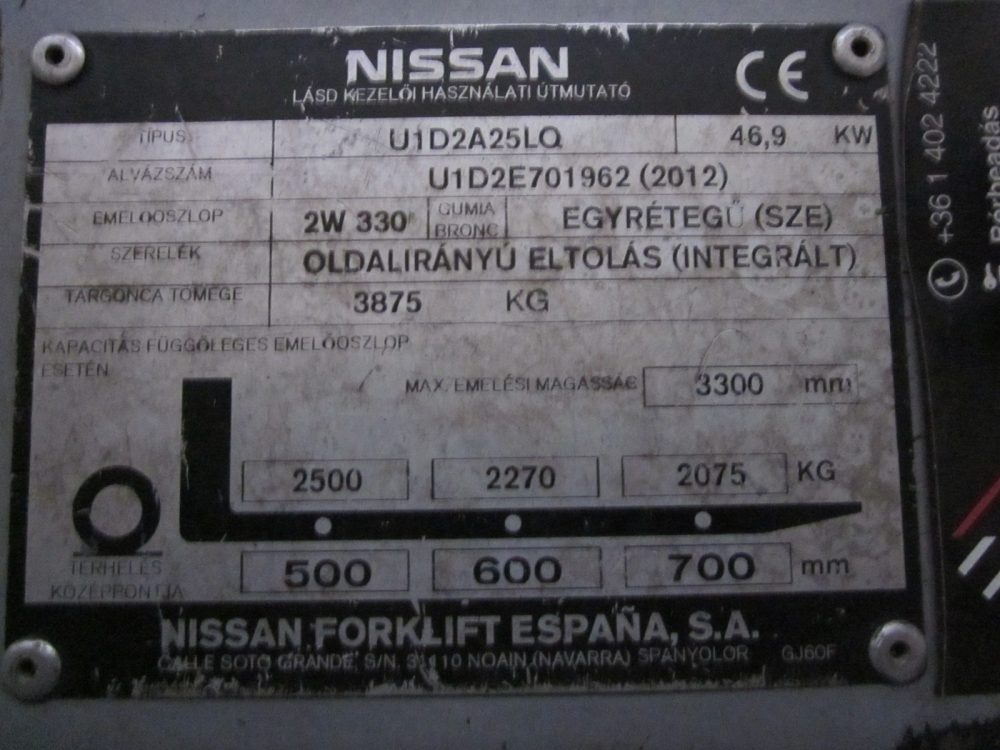Nissan DX25LPG targonca